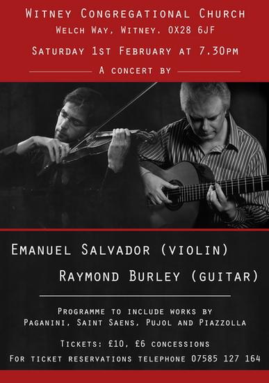 Raymond Burley and Emanuel Salvador violin Concert postponed